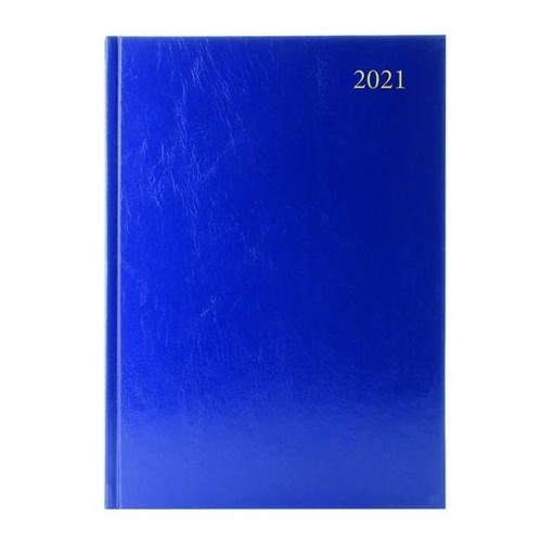 A4 Office 2021 Diary 1 Day to Page Casebound and Sewn Vinyl Coated Board A4 297x210mm Blue