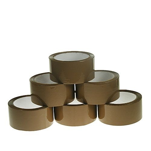BROWN HOT MELT ADHESIVE PACKAGING TAPE 48MM X 66M [Pack 6]