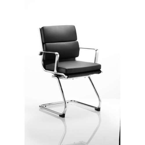 Visitor Cantilever Chair Black With Arms Bonded Leather