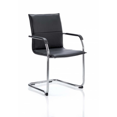Echo Visitor Cantilever Chair Black With Arms Bonded Leather