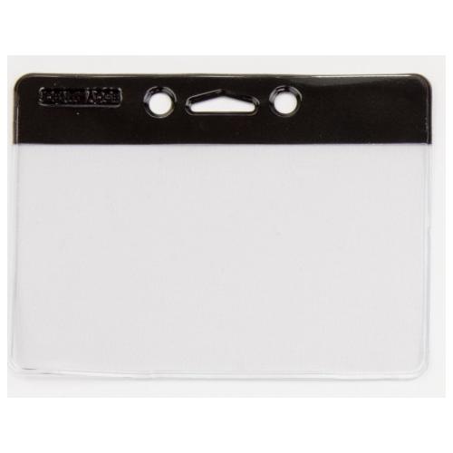 Identibadge Landscape Security Badge no clip, BLACK, 60mm x 90mm, Box 50