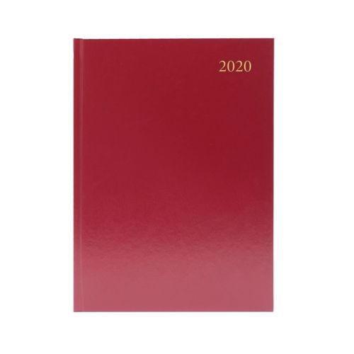 Diary A5 Day Page Diary Burgundy 2020