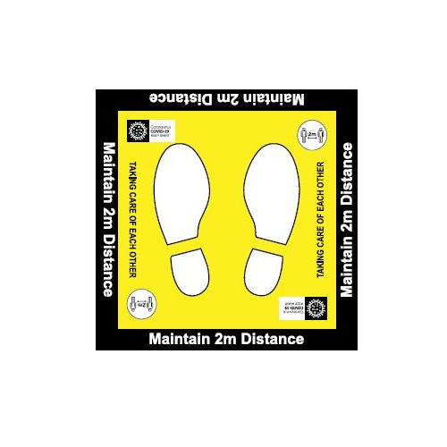 Maintain 2m Distance Square Floor Decal