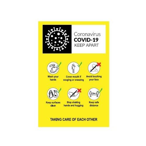 Coronavirus Hand Wash Sign - Self Adhesive