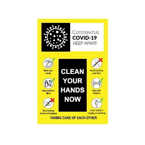 Coronavirus Clean Your Hands Sign - Self-Adhesive