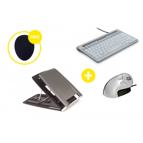 Home Office Ergonomic Essentials Box - Laptop Stand, Keyboard, Mouse and Free Mouse Mat