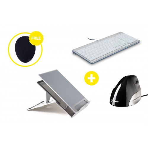 Home Office Ergonomic Premium Box - Laptop Stand, Keyboard, Mouse and Free Mouse Mat