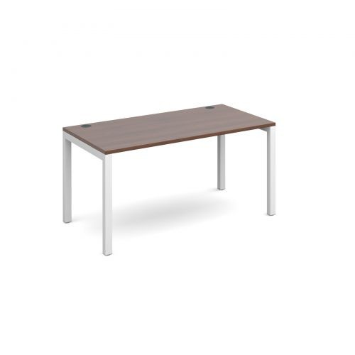 single desk 1400mm x 800mm - white frame and walnut top
