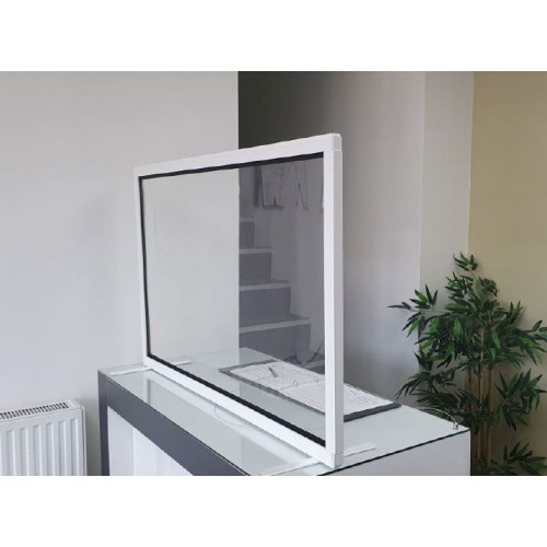CLEAR POLYVINYL PROTECTIVE DESK SCREEN (width 1800 x depth 35 x height 700mm)