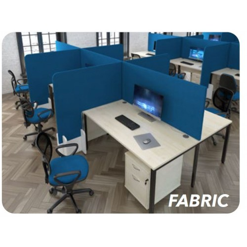Protective desk division floor standing screen (Fabric) - width 1200 x depth 28 x height 1440mm