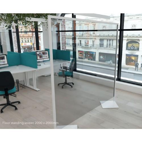 CLEAR POLYVINYL PROTECTIVE FLOOR STANDING SCREEN (width 1600 x depth 35 x height 2000mm)