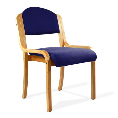 Beech Framed Stackable Side Chair with Upholstered and Padded Seat and Backrest - Blue