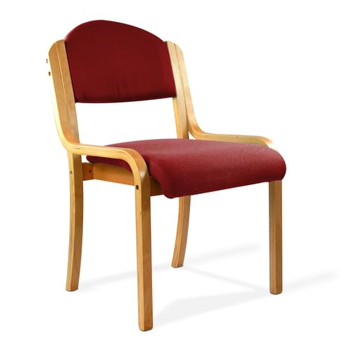 Beech Framed Stackable Side Chair with Upholstered and Padded Seat and Backrest - Wine