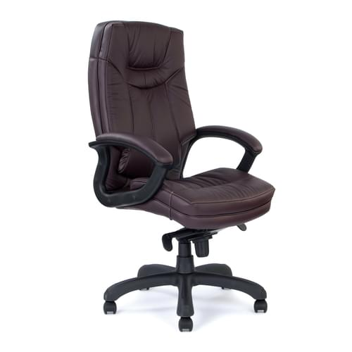 Stylish High Back Leather Faced Executive Armchair with Upholstered Armrests and Pronounced Lumbar Support