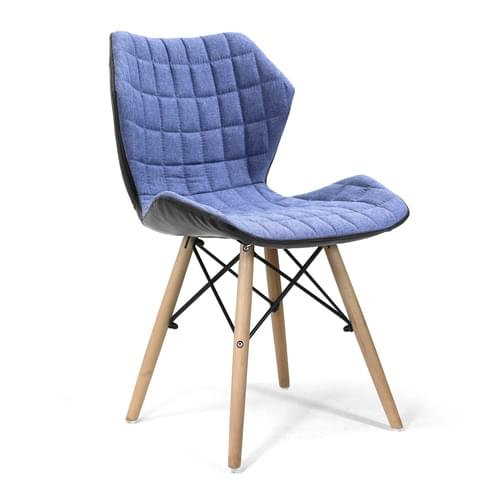 Stylish Lightweight Fabric Chair with Solid Beech Legs and Contemporary Panel Stitching