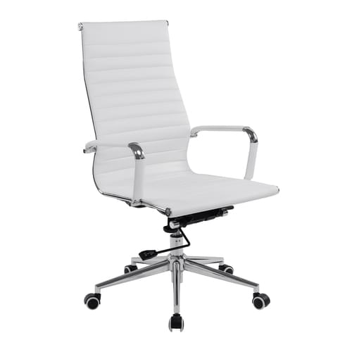 Contemporary High Back Bonded Leather Executive Armchair with Chrome Base