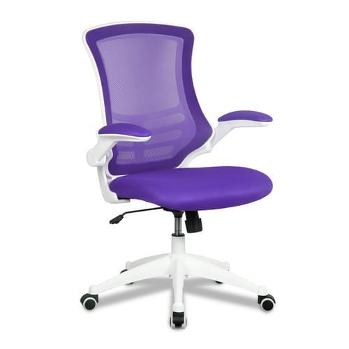 Designer Medium Back Mesh Chair with White Shell and Folding Arms
