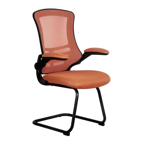 Designer Medium Back Mesh Cantilever Chair with Black Shell, Black Frame and Folding Arms