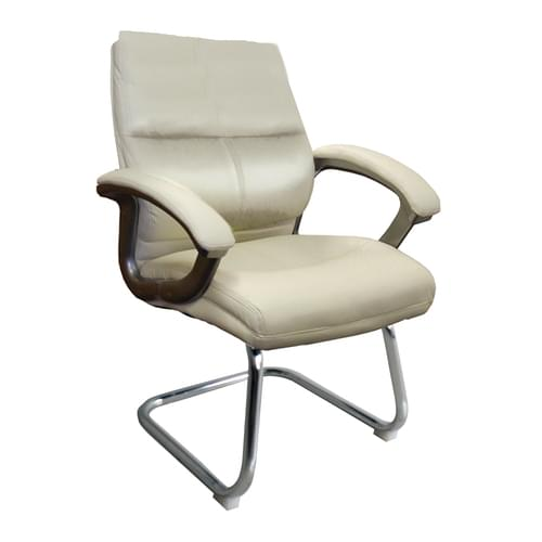 High Back Leather Effect Executive Visitor Armchair with Contoured Design Backrest and Chrome Base