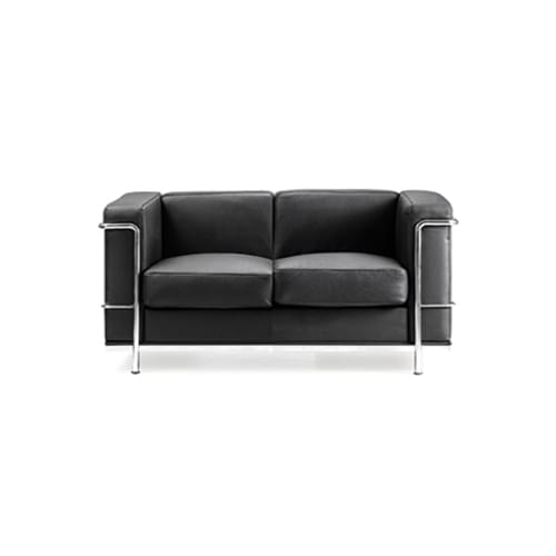 Contemporary Cubed Leather Faced Reception Chair with Stainless Steel Frame and Integrated Leg Supports - Black