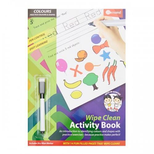A4 14pg Wipe Clean Activity Book W/pen - Colours & Shapes