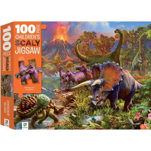 100-Piece Children's Scaly Jigsaw: Dinosaur Island
