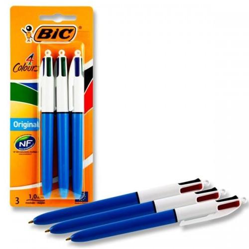 Bic Card 3 Original 4 Colour Retractable Biros