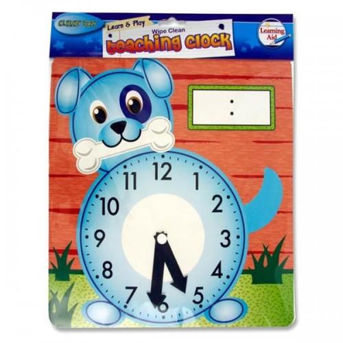 Clever Kidz Wipe-clean 25.5x26.5cm Teaching Clock - Dog