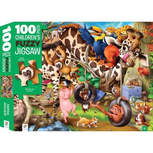 100 Piece Fuzzy Jigsaw - Animal Mayhem