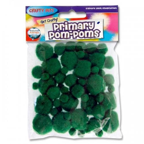 Crafty Bitz Primary Pom Poms - Green