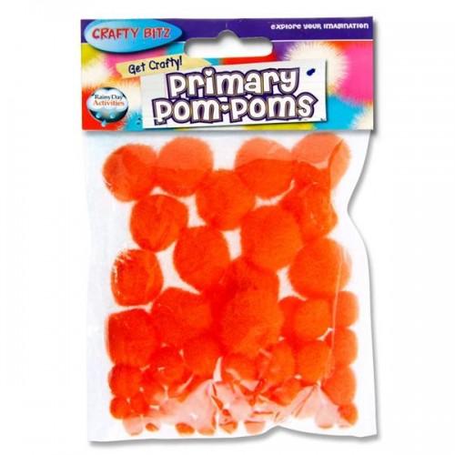 Crafty Bitz Primary Pom Poms - Orange