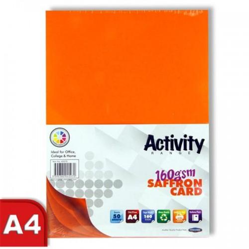 Premier Activity A4 160gsm Card 50 Sheets - Saffron