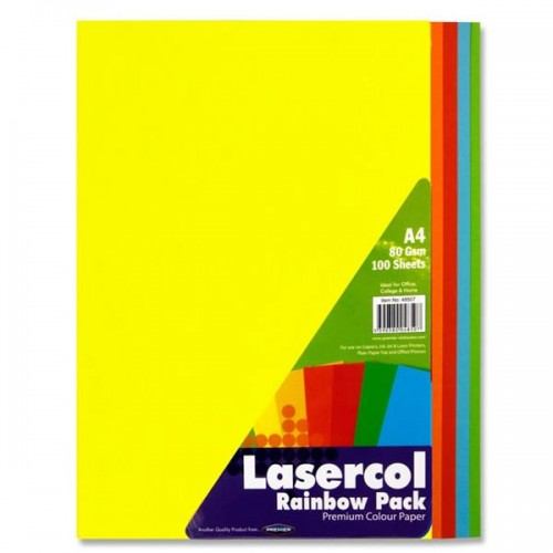 Lasercol A4 80gsm Colour Paper 100 Sheets - Rainbow