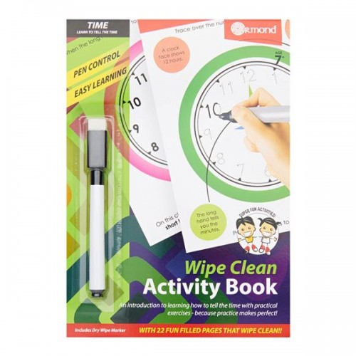 A5 22pg Wipe Clean Activity Book W/pen - Time