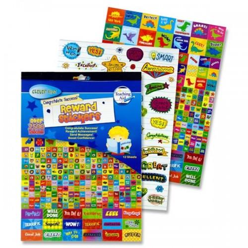Clever Kidz 12 Sheet 2500+ Deluxe Reward Sticker Pad