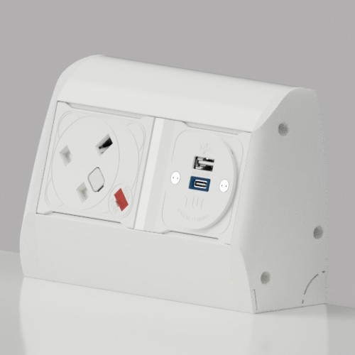 Pearl On-Surface 1 x UK FUSED socket, 1 x TUF-R (USB A+ USB C) Power Module