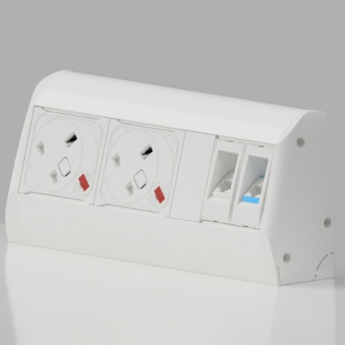 Pearl On-Surface 2 x UK FUSED socket, 2 x 3m Cat6 RJ45 Power and Data Module