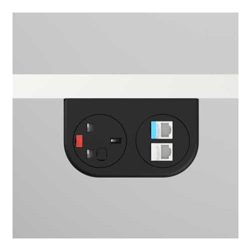 Phase Under-Surface Power Supply 1 x UK FUSED socket, 2 x RJ45 LAN Outlet Cat6 - Black