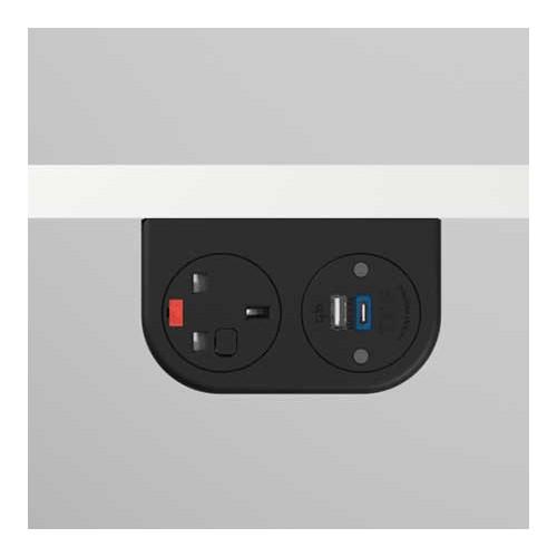 Phase Under-Surface Power Supply 1 x UK FUSED Socket, 1 x TUF-R (USB A+ USB C) - Black