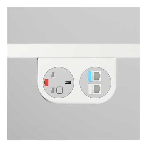 Phase Under-Surface Power Supply 1 x UK FUSED socket, 2 x RJ45 LAN Outlet Cat5e - White