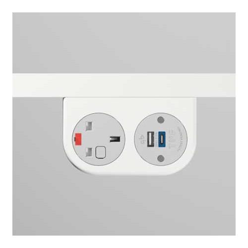 Phase Under-Surface Power Supply 1 x UK FUSED Socket, 1 x TUF-R (USB A+ USB C) - White