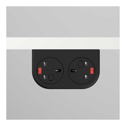Phase Under-Surface Power Supply 2 x UK FUSED Socket Module - Black