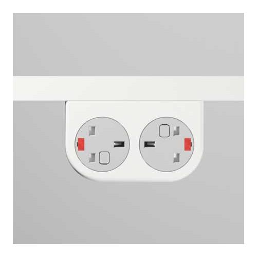 Phase Under-Surface Power Supply 2 x UK FUSED Socket Module - White
