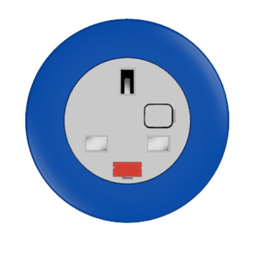 Pip In-Surface Panel Mounted 1 x UK Socket Small Power Module - Bevelled - Dark Blue