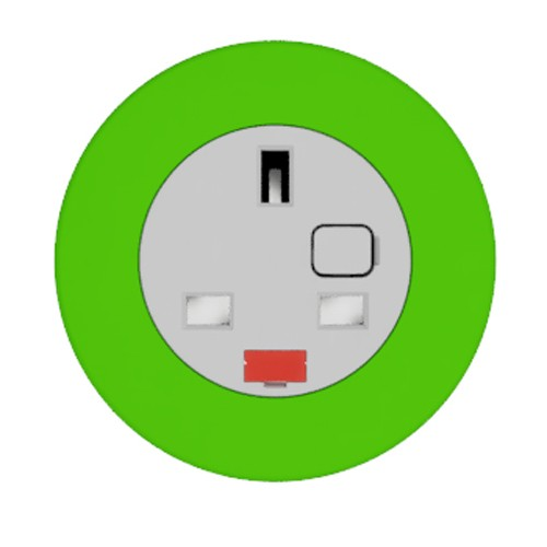 Pip In-Surface Panel Mounted 1 x UK Socket Small Power Module - Bevelled - Light Green
