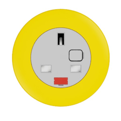 Pip In-Surface Panel Mounted 1 x UK Socket Small Power Module - Bevelled - Light Orange