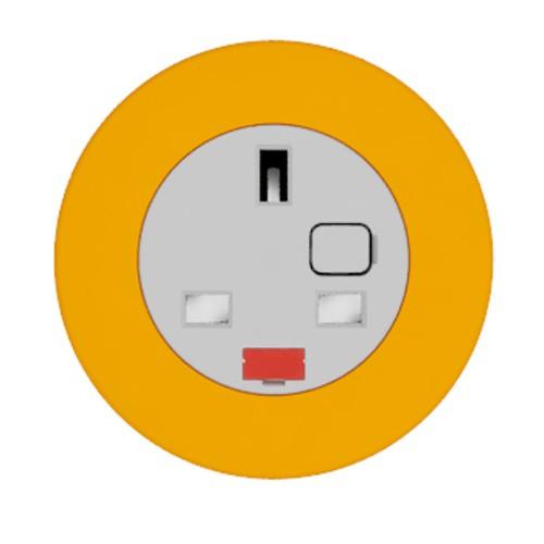 Pip In-Surface Panel Mounted 1 x UK Socket Small Power Module - Bevelled - Orange