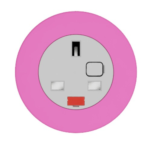 Pip In-Surface Panel Mounted 1 x UK Socket Small Power Module - Bevelled - Hot Pink