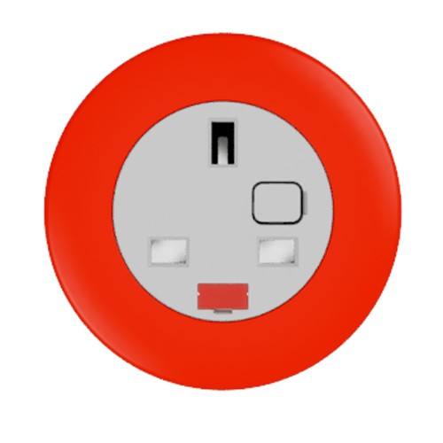 Pip In-Surface Panel Mounted 1 x UK Socket Small Power Module - Bevelled - Red