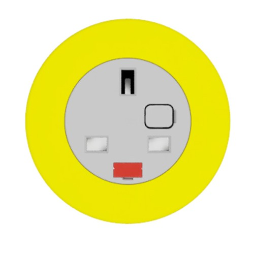 Pip In-Surface Panel Mounted 1 x UK Socket Small Power Module - Bevelled - Yellow
